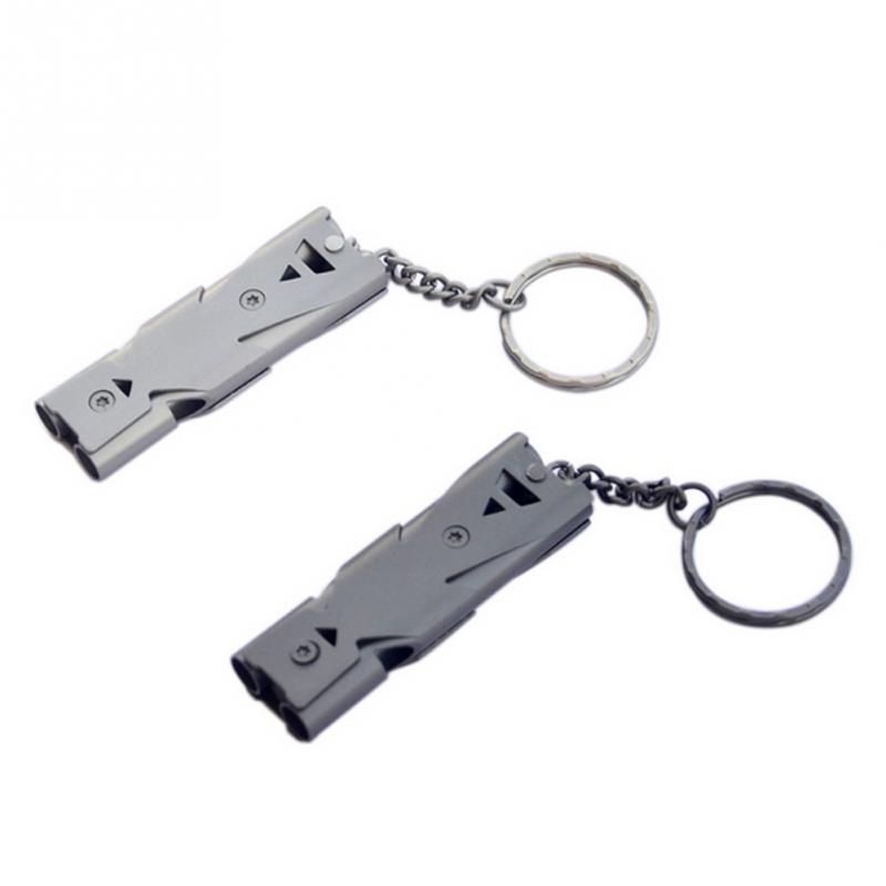 150db Double Pipe Whistle High Decibel Stainless Steel Outdoor Emergency Survival Whistle Keychain Cheerleading Whistle Home