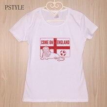 Vir a Inglaterra Projeto Camiseta Leão Dos Desenhos Animados Impressão  Tshirt Mulheres Harajuku Engraçado T- 9269cd8867826