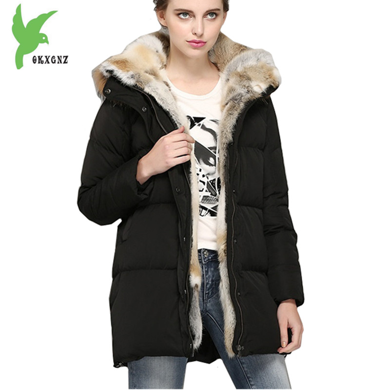 Women Winter Down Cotton Jackets Rabbit Hair Fur Collar Hooded Coats Plus Size Medium Length Loose Thick Warm Parkas OKXGNZ A994 large size winter parkas women hooded jacket coats korean loose thick big fur collar down long overcoat casual warm lady jackets