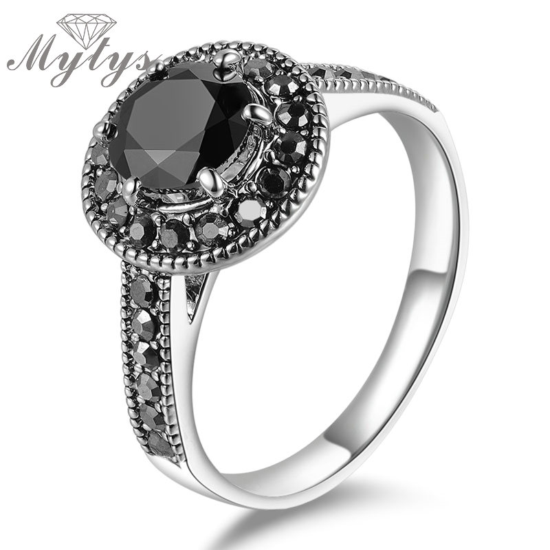 Mytys Black Crystal Ring Gp Package With Gift Box Jewelry