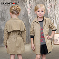 New 2017 Children Clothing Girls Coats Cotton Outerwear Jackets Girls Casual Solid Khaki Trench Belt Double Breasted SAJ3119