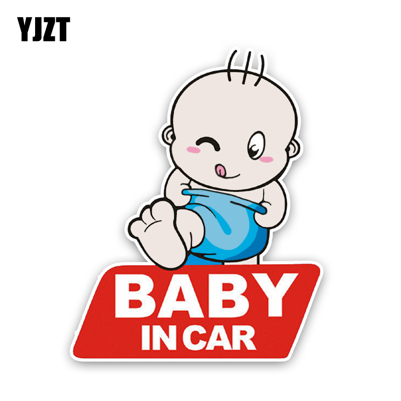 YJZT 13*16.2CM Cartoon Lovely BABY IN CAR On Graphic Colored Decoration Car Sticker Warning Sign C1-5519