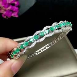 Shilovem стерлингового серебра 925 Настоящее зеленый изумрудные браслеты fine Jewelry женские модные свадебные 3*4 мм Новая оптовая продажа yhsz0304agml