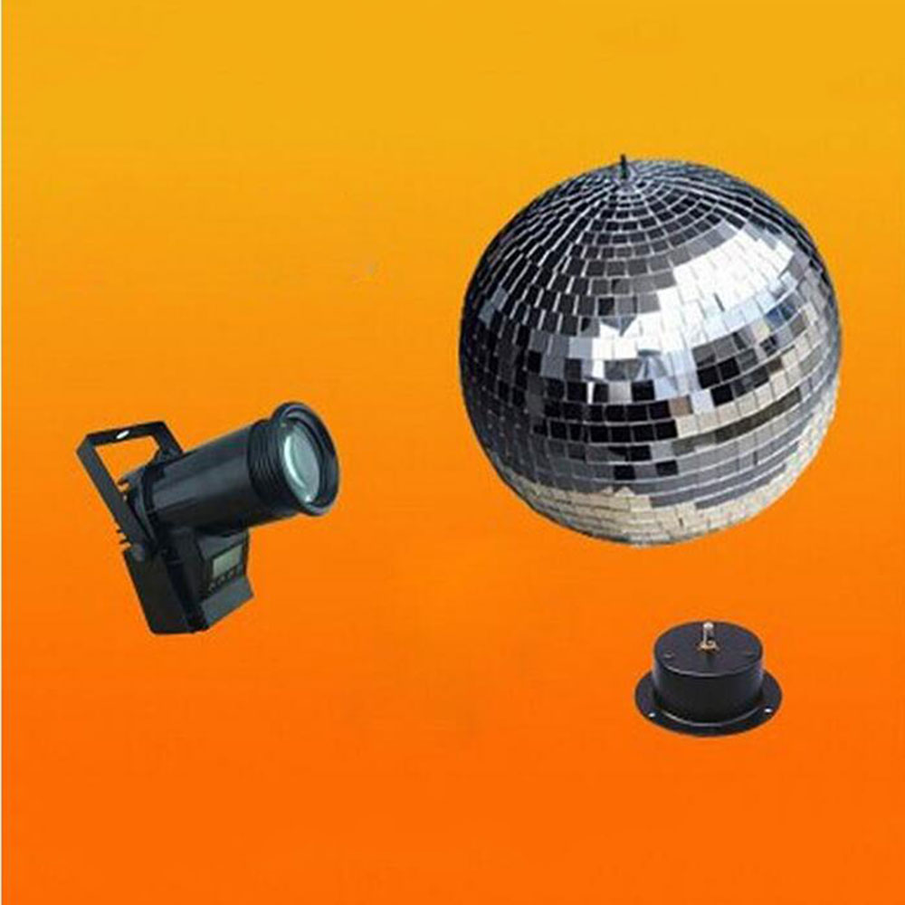 220V D25cm 10inches glass rotating disco mirror ball + 10W 4in1 LED Pinspot + AC rotation Motor set home party DJ club d25cm purple glass rotating mirror ball 10 disco dj party fixtures110v or 220v mirror ball motor hanging suspension balls