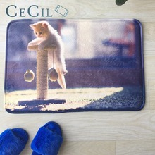 Cecil Welcome Floor Mats Animal Cute Cats Printed Bathroom Kitchen Carpet Indoor Outdoor for Living Room Anti-Slip Rug