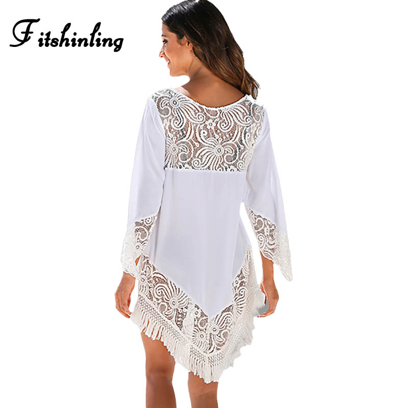 Fitshinling 2018 Lace Patchwork Fringe White Sexy Beach Dresses For Women Hollow Out Hot Pareos Swimwear Output Summer Dress