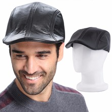 2016 New Mens Premium Black Leather Beret Hat and Cool Sizes Selected