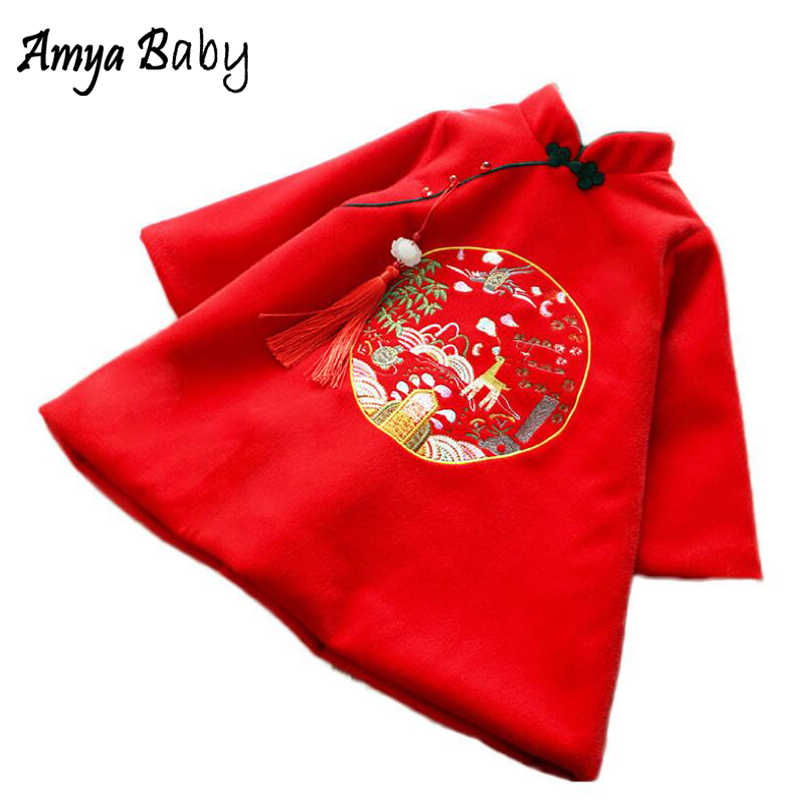 Amya Baby Girl Winter Dress Embroidery Warm Princess Costume Red New Year Girls Dress Long Sleeve Girls Dresses Children Clothes