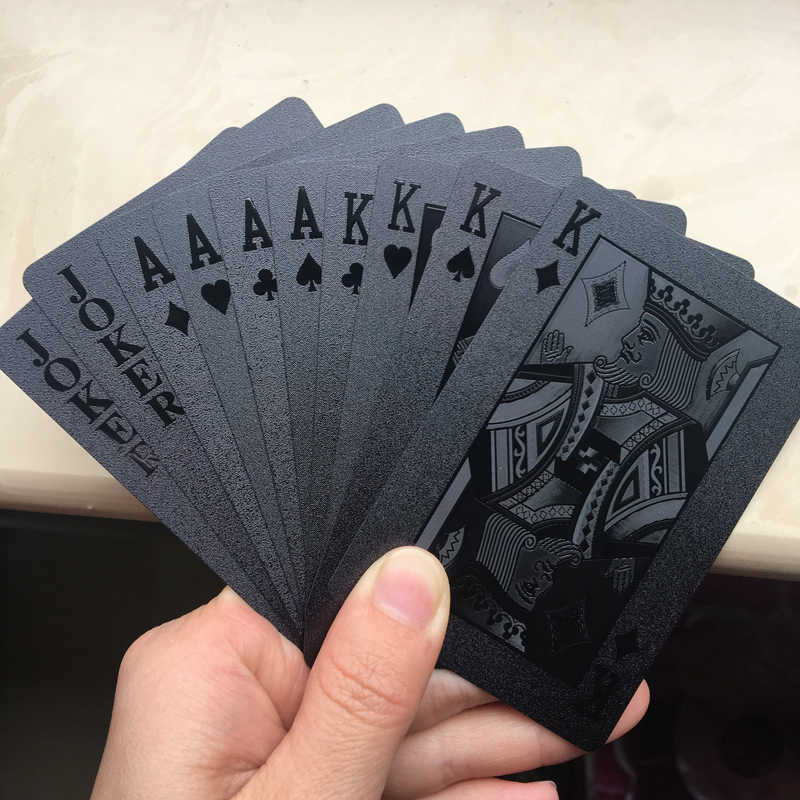 Waterproof Black Plastic 3D Embossing Poker Cards PET Material Advanced Plastic Playing Cards Good Gift for Collection (1Deck)