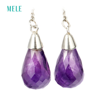 Natural Amethyst Silver Earring Tear Drop 8mm 15mm Deep Purple Color And Natural Inclusion Fashion And