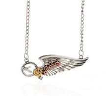 Popular punk style half angel wing steampunk gears fashion necklace jewelry
