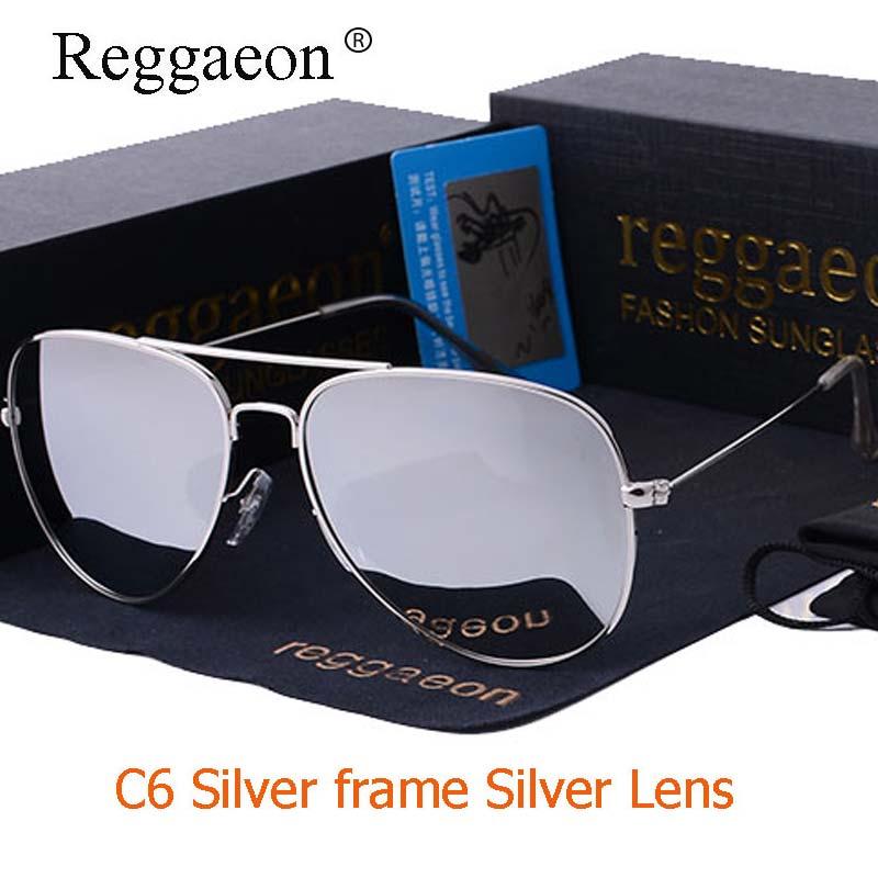Raggaeon luxury sunglasses man Polarized classic brand design women pilot sun glasses metal frame sliver lens  mirror