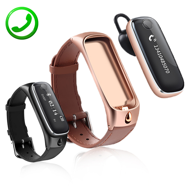 Talkband Smart Talk Band ZB62 Sport Bracelet Fitness Tracker With Oled Screen Earphone Wristband Watch For iOS Android Phone Men