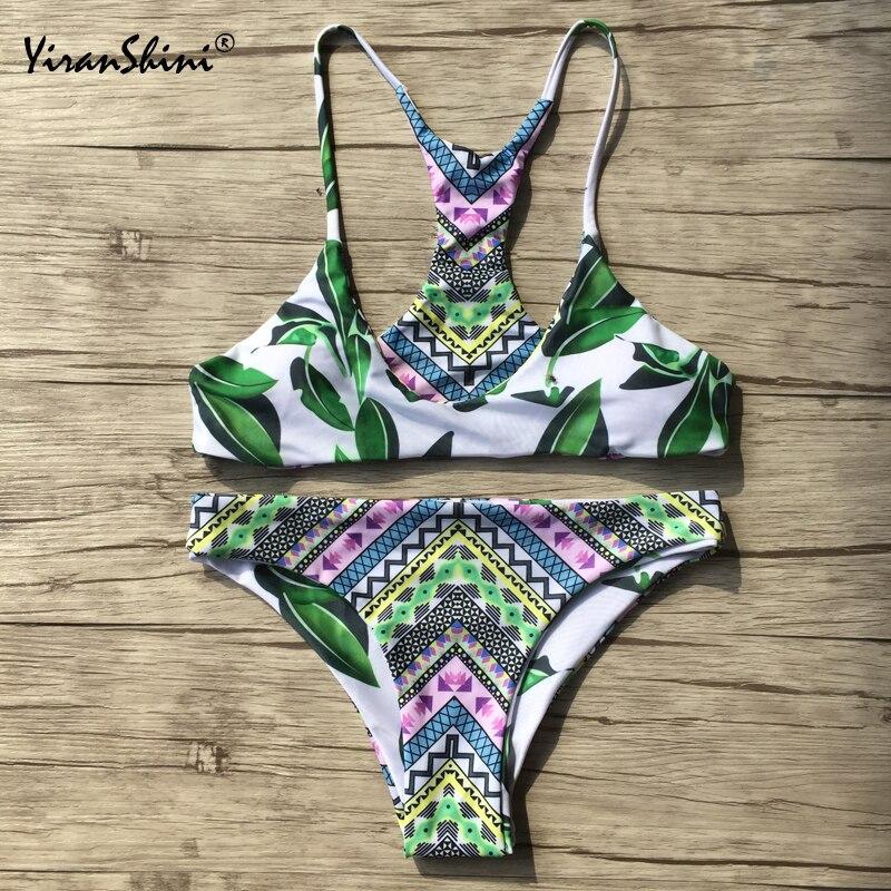 Apprehensive Yiranshini New Style Bikinis Women 2018 Summer Tankini Sexy Printing 2 Pieces Micro Bikini Swimsuit Swimwear Beach Bathing Suits Bikinis Set Swimming