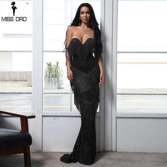 Missord 2019 сексуальный бюстгальтер с открытыми плечами спинки платья для женщин женские кисточкой Блеск Макси элегантное вечернее платье Vestdios FT8303