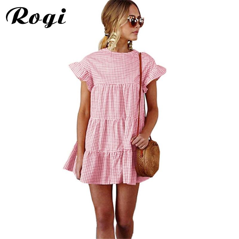 Rogi Women Dresses 2018 Summer Flare Sleeve Cute Plaid Dress Casual ...