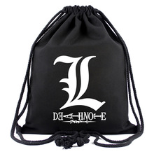 IVYYE Death Note Anime Canvas Backpacks Cartoon Drawstring Backpack Casual String Bags shopping Knapsack Unisex New