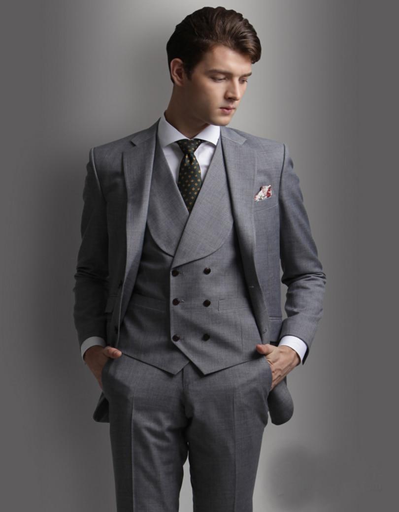Latest Coat Pant Designs Smoking Grey Men Wedding Suits Prom Tuxedo ...