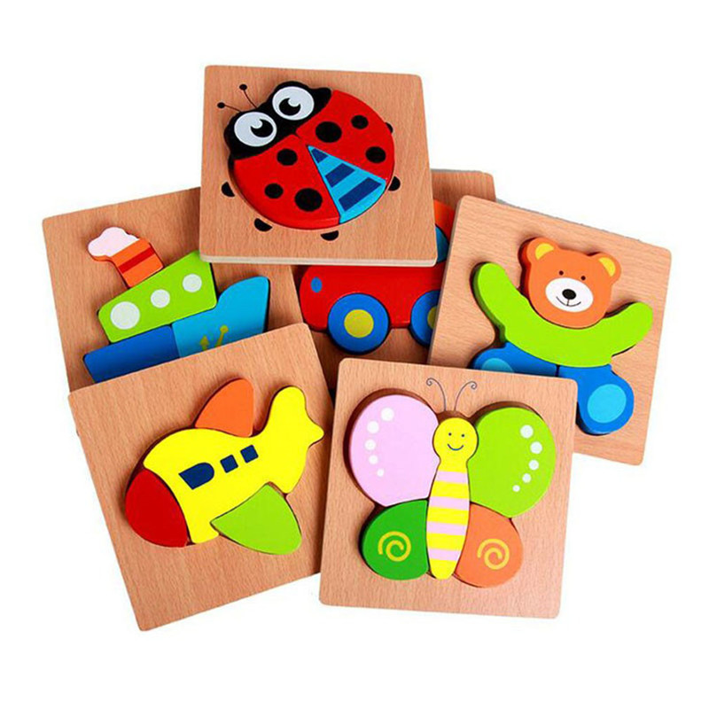Cartoon Wooden Jigsaw Puzzle 3D Wooden Montessori Toys For Children Learning Education Puzzle Games Wooden Popular Toy