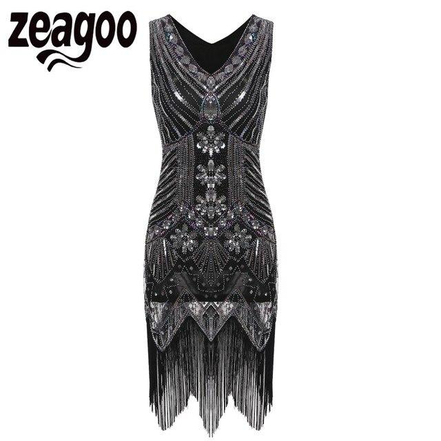 Zeagoo Vintage Kleid 1920 s Gastby Pailletten Perlen Art Nouveau ...