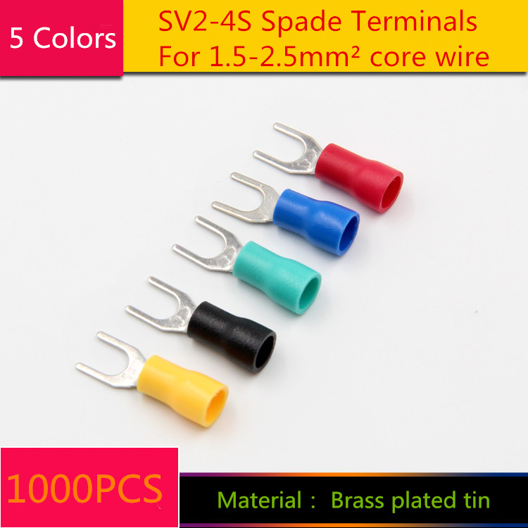 1000PCS YT1879  SV2-4S Spade Terminals Cold - Press Terminal For 1.5-2.5 mm2 wire  Brass plated tin  screw hole 4.3mm сумка kate spade new york wkru2816 kate spade hanna