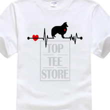 ФОТО biker t shirts sheltie dog breed heartbeat shirt pet shetland sheepdog men's cotton o neck short sleeve shirts