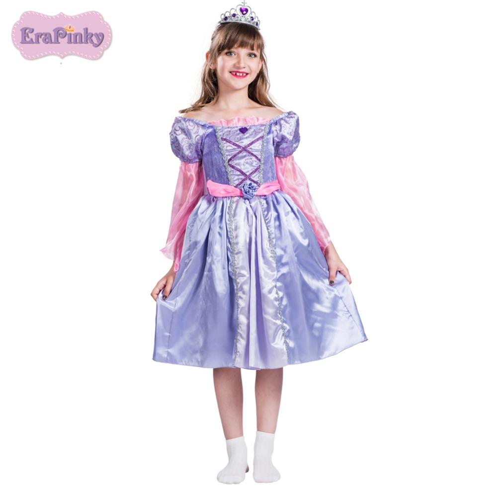 Erapinky girls dress Purple Victorian Princess Dress puff sleeve o neck mid calf girl clothes princess dress for carnaval kids