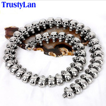 TrustyLan Cool Gothic Male Necklaces Vintage Full Skull Skeleton Necklace For Men Long Design Link Chain Punk Rock Man Jewelry