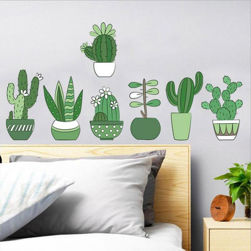 Diy plants green cactus wall sticker green plant wall window decals pot flower cactus for living room bedroom home decoration 2 in wall stickers from home