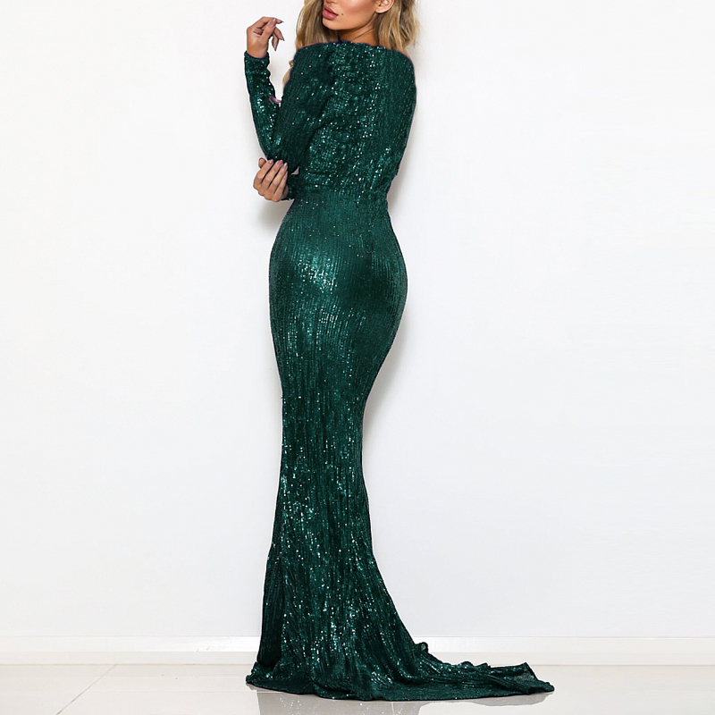 Green Sequined O Neck Evening Party Dress Maxi Dresses Elegant Sequin Floor Length Dress Gown