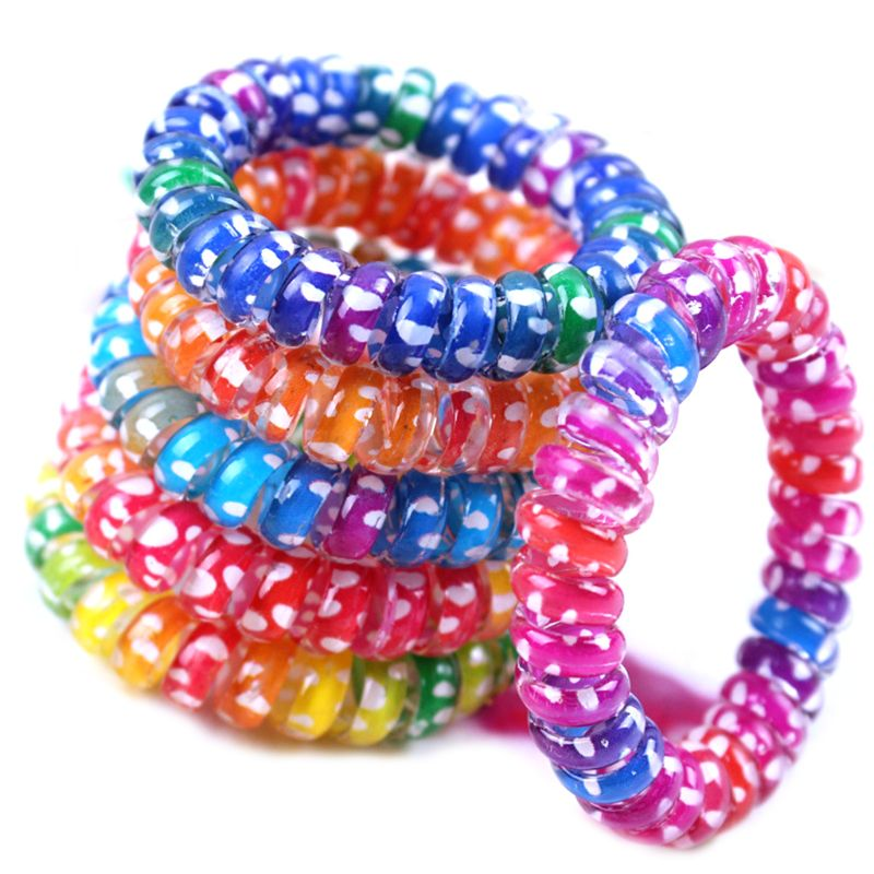 Women Girls Colorful Rainbow Spiral Hair Ties Rope