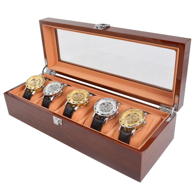 Boîte de montre en bois à 5 fentes fenêtre en verre solide rouge montre pour hommes en bois