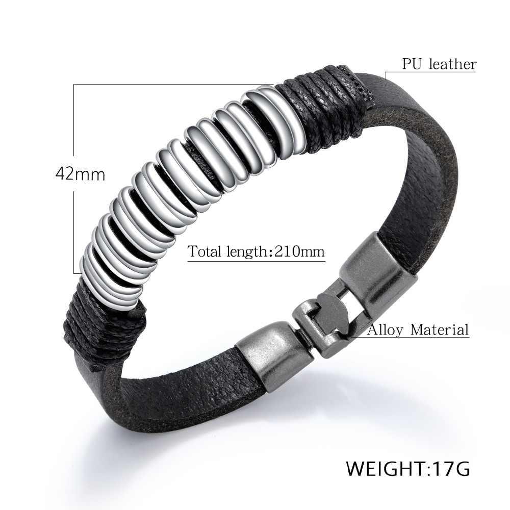 W stylu Punk skórzane bransoletki i Bangles moda plecione bransoletki dla mężczyzn nowy biżuteria męska prezent (BA102346)