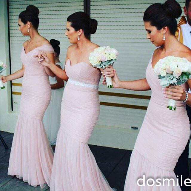 Custom new arrival elegant blush pink long sweetheart mermaid bridesmaid  dresses sexy off the shoulder chiffon gowns designed d49abae5c808