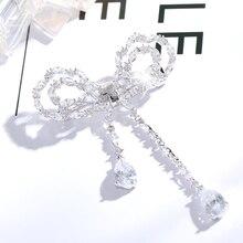 Cute Bright Crystal Bow Silver Tone Rhinestone Flatback Embellishment Pin Bow-knot Wedding Bouquet Broach Copper Jewelry