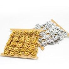 2 ярдов/партия 15 мм Цветок Diamond Bling Кристалл ленты обёрточная бумага отделкой DIY дома свадебный торт вечерние Защита от солнца цветок кружево
