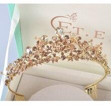 New Rhinestone pearl design bridal crown handmade champagne tiara headband crystal diadem women wedding party hair accessories