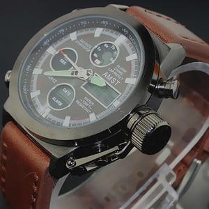 Image 2 - שעון גברים אופנה מקרית יוקרה מותג AMST Diver LED זכר ספורט צבאי רצועת עור עמיד למים שעון יד Relogio Masculino