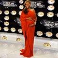 Largo de la alfombra roja vestidos festoneado de manga larga gasa larga roja de la celebridad vestidos para mujeres embarazadas