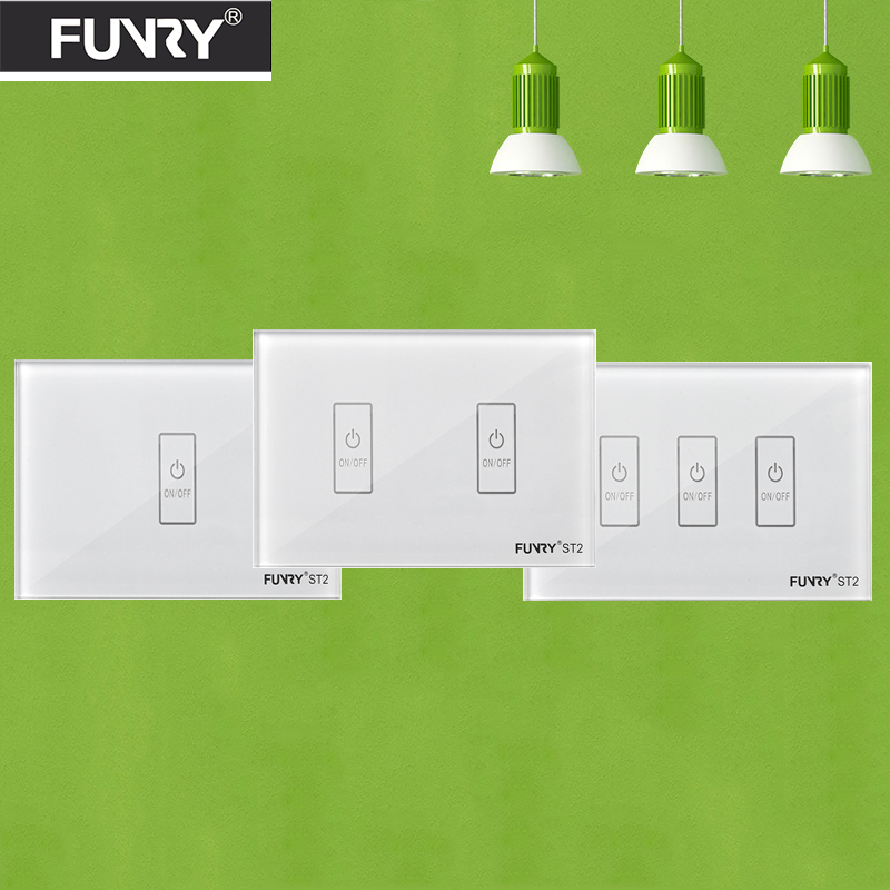 Funryn New US Standard 123 Gang  WiFi Light Switch,Smart Home Automation Remote Control Touch Panel Switch Via Broadlink RM Pro sonoff touch wall wifi light switch us eu intelligent glass panel smart home wireless remote switch control via by phone