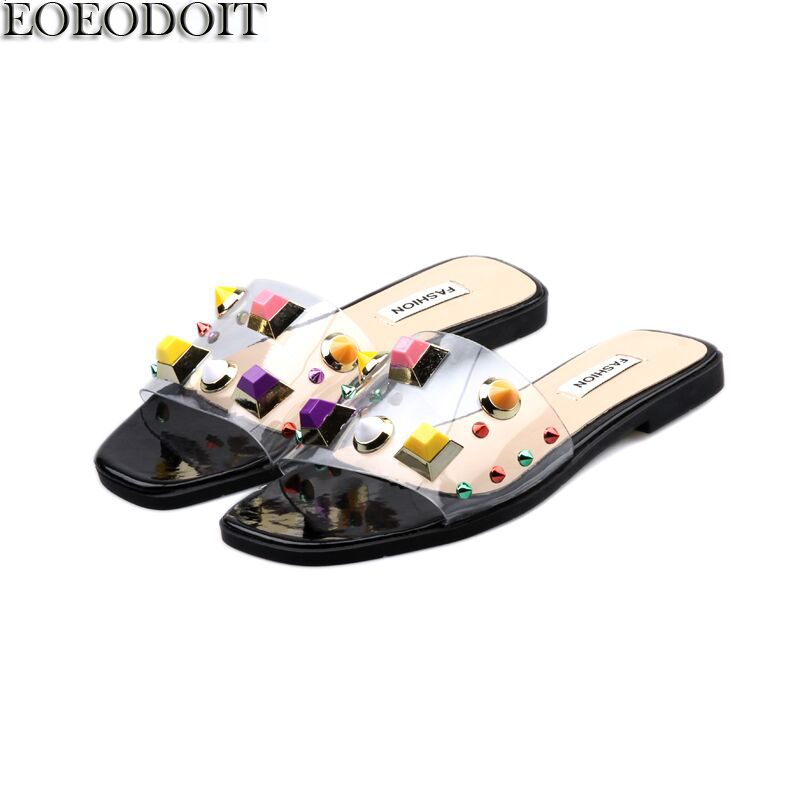 EOEODOIT Women Slippers Colorful Big Acrylic Rivet Flat Heel Shoes Summer Slides Casual Outside Beach Sand Slippers Sandals 2018