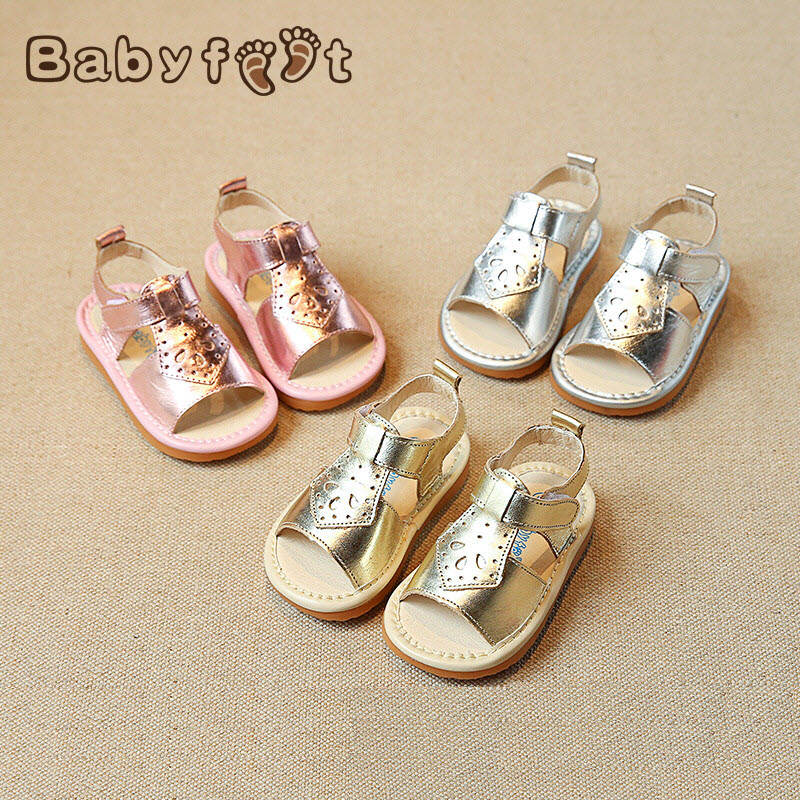 Brand Babyfeet 1-3 years old girl sandals Baby Toddler shoes Cow Leather Genuine Leather princess party shoes Children's sandals babyfeet summer cool toddler shoes 0 2 year old newborn baby girl