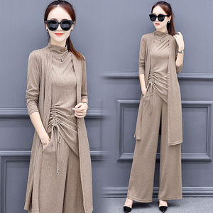 Image 3 - New Spring Knitted 3 Piece Set Women Plus Size Tracksuit Long Cardigan And Vest Tops And Wide Leg Pants Suit Womens Sets 2020