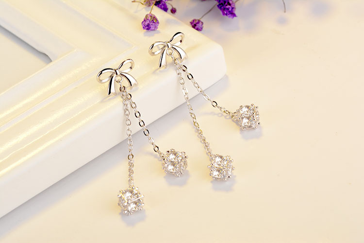 High quality fashion shiny zircon bowknot women birthday gift 925 sterling silver ladies long stud earrings wholesale jewelry in Stud Earrings from Jewelry Accessories