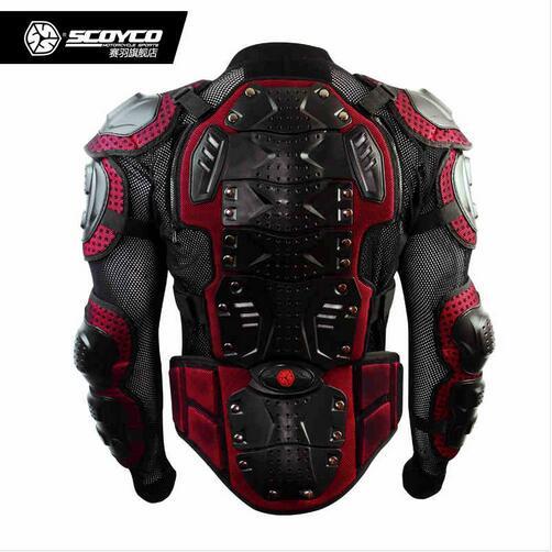 Haute Qualité Noir Mélange Rouge Mise À Niveau Motocross Armure Moto Course Protecteur Complet Engrenages Armure Veste Marque Scoyco AM02-2