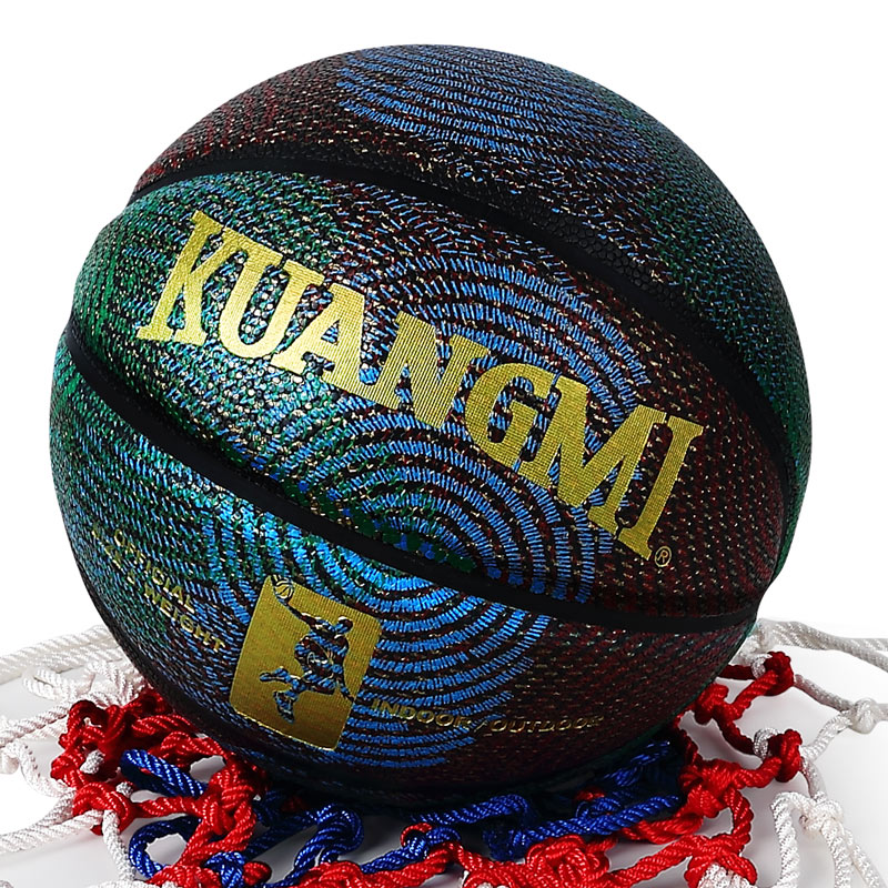Kuangmi Printing Pattern PU leather Basketball US Pro Street Ball Basketball Ball Indoor Outdoor Official Size