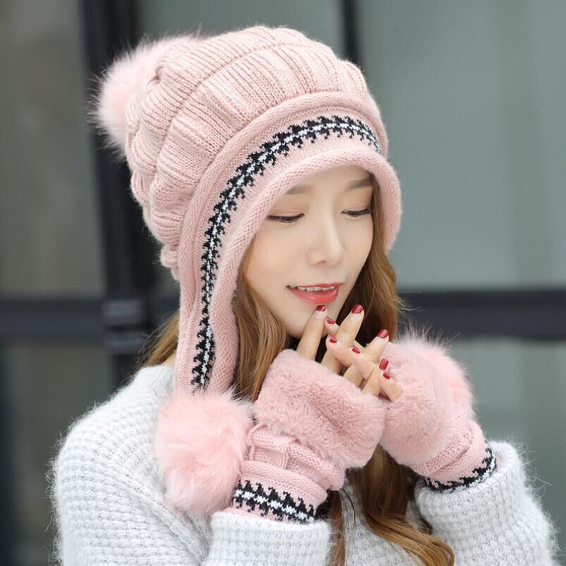 BING YUAN HAO XUAN 2018 Wimter Female Hat Autumn And Casual Winter All-Match Sweet Point Knit Cap + Gloves