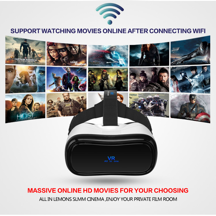 VR All in one Virtual Reality Glasses Headset 1920*1080P 5.0 Inch WiFi Bluetooth USB TF Immersive 3D Video Game Movie Headset - 2