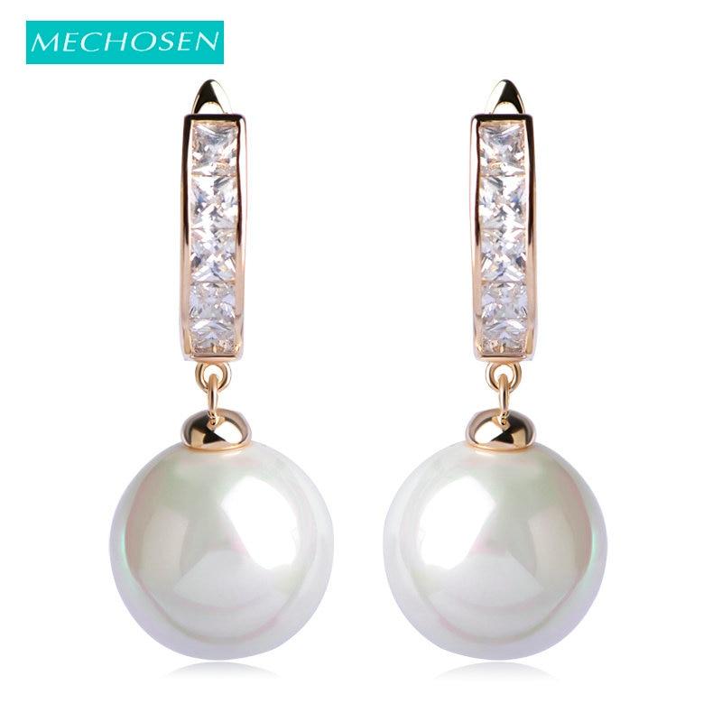 MECHOSENエレガントパールイヤリング用女性ジルコン銅perlas aretesピアスbrincos boucle d'oreillウェディングジュエリーoorbellen