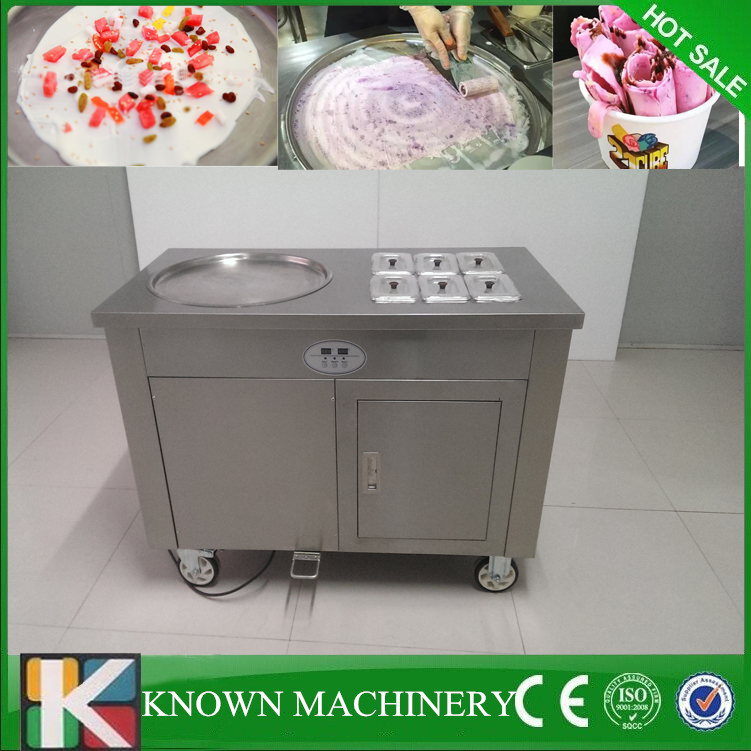 Best seller single round pan with 6 cooling food tanks fry ice cream machine thailand 110v
